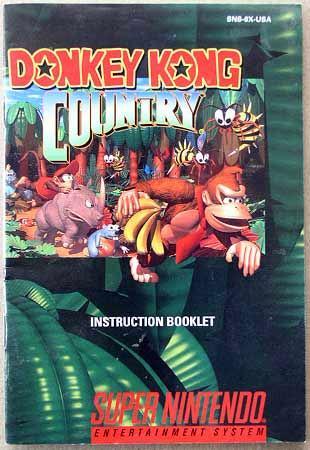 Super Nintendo Donkey Kong Booklet