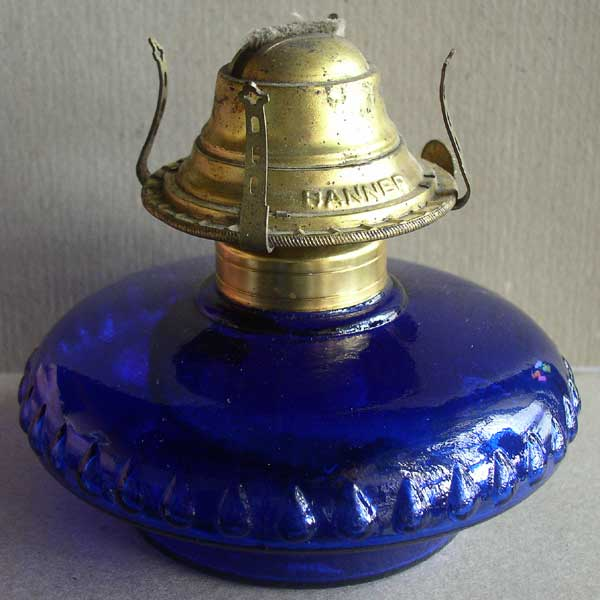 Blue Glass Budoir Dresser Lamp 1