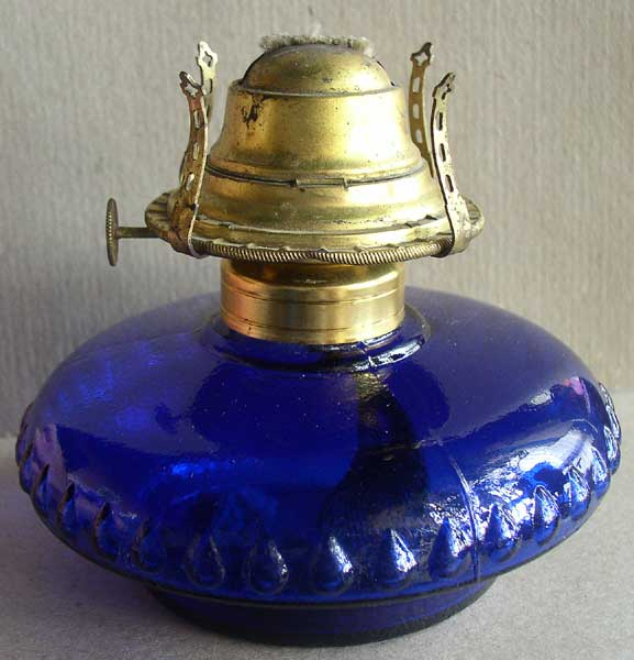 Blue Glass Budoir Dresser Lamp 2