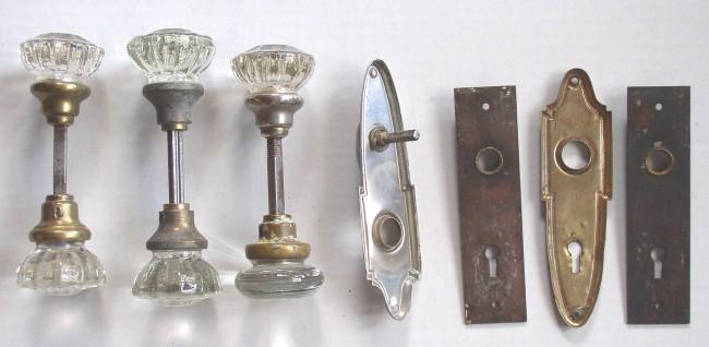 Six Antique Glass Door Knobs Four Door Plates