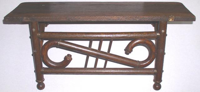 Antique Stick And Ball Style Oak Clock Shelf Thingery