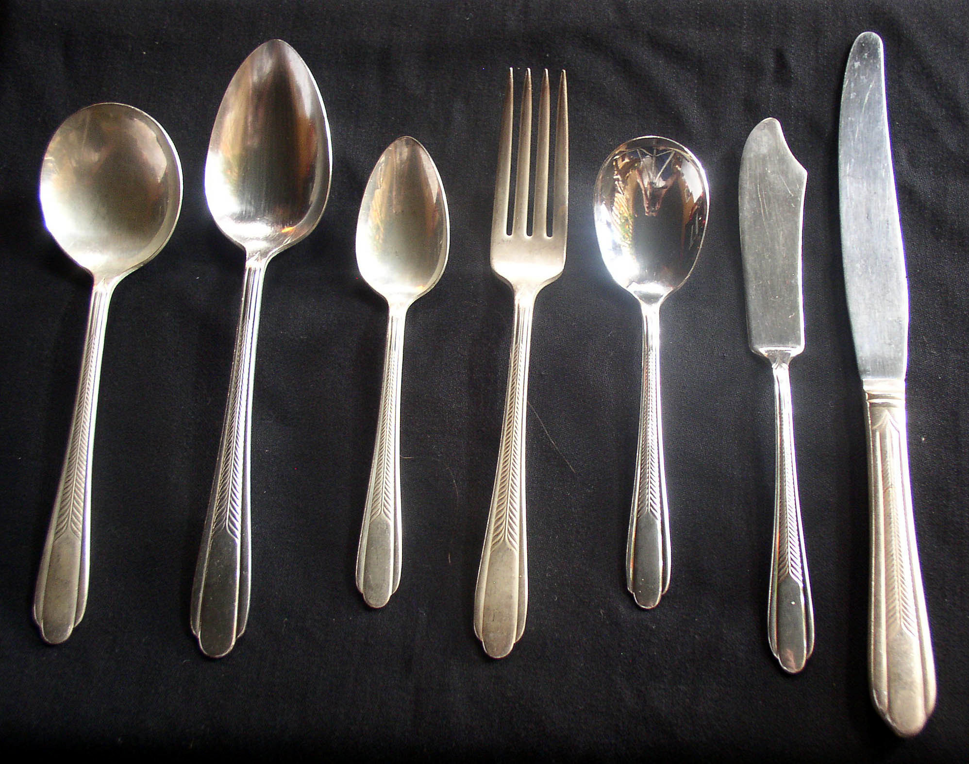 National Silver Monarch Plate Plume Flatware 51 Pc