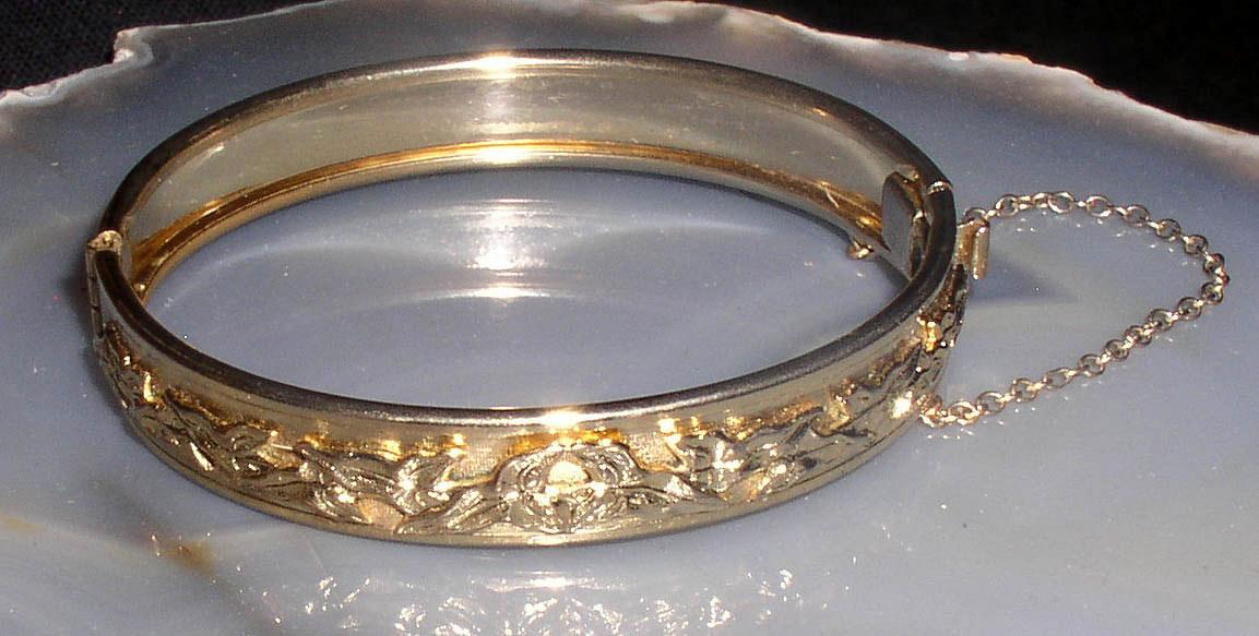Whiting Amp Davis Goldtone Hinged Cuff Bangle Bracelet