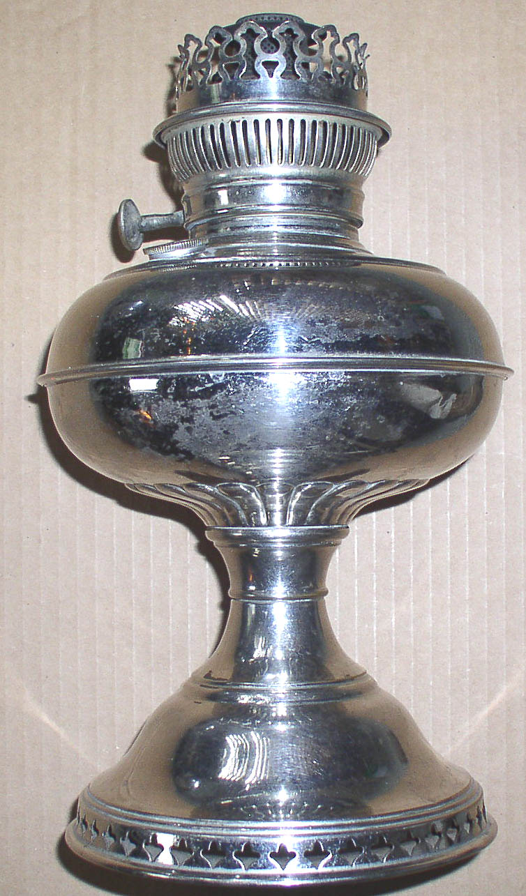 Antique Rayo Nickel Plated Center Draft Oil Lamp