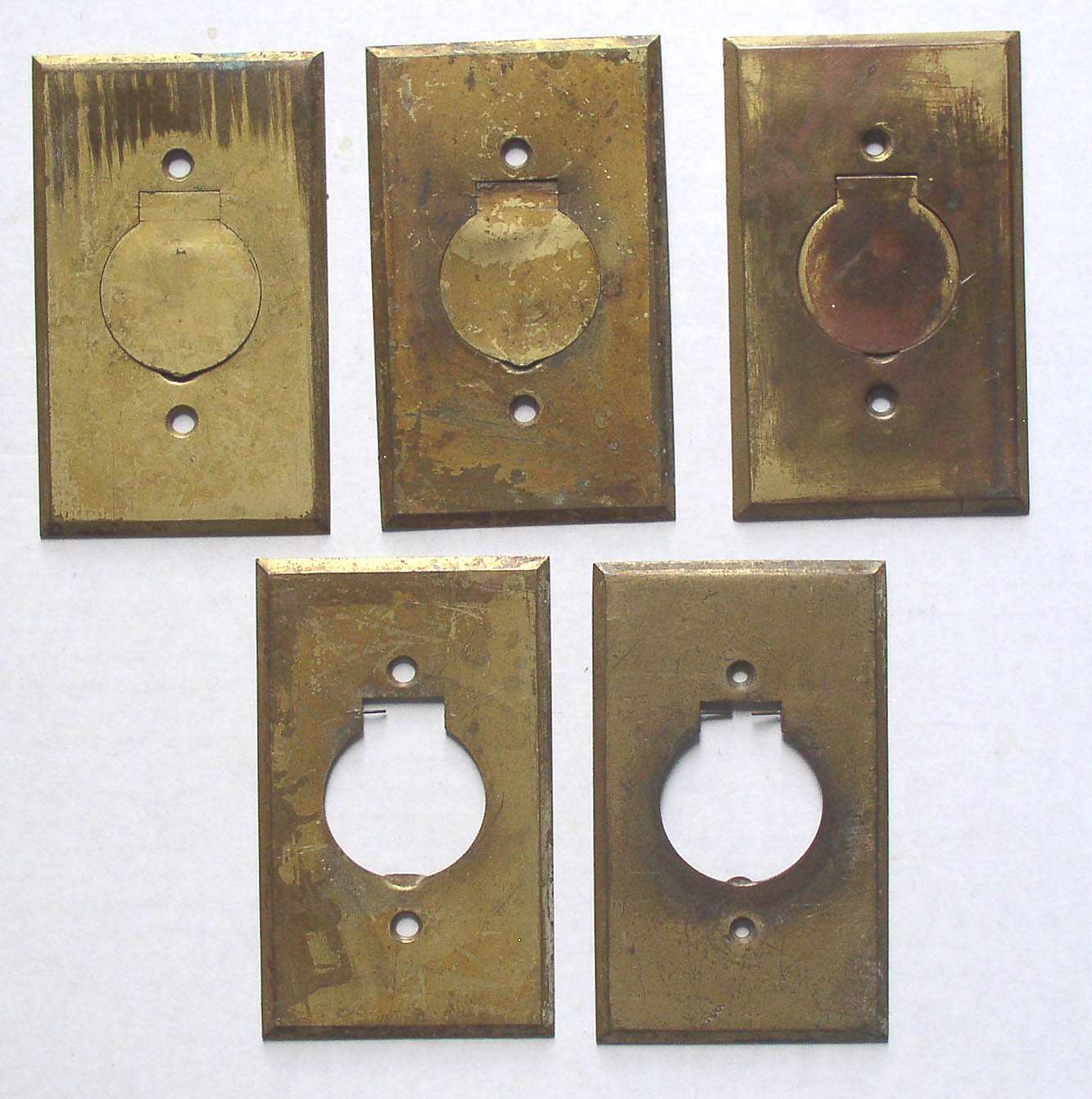 5 Antique Brass Single Outlet Covers Floor Wall