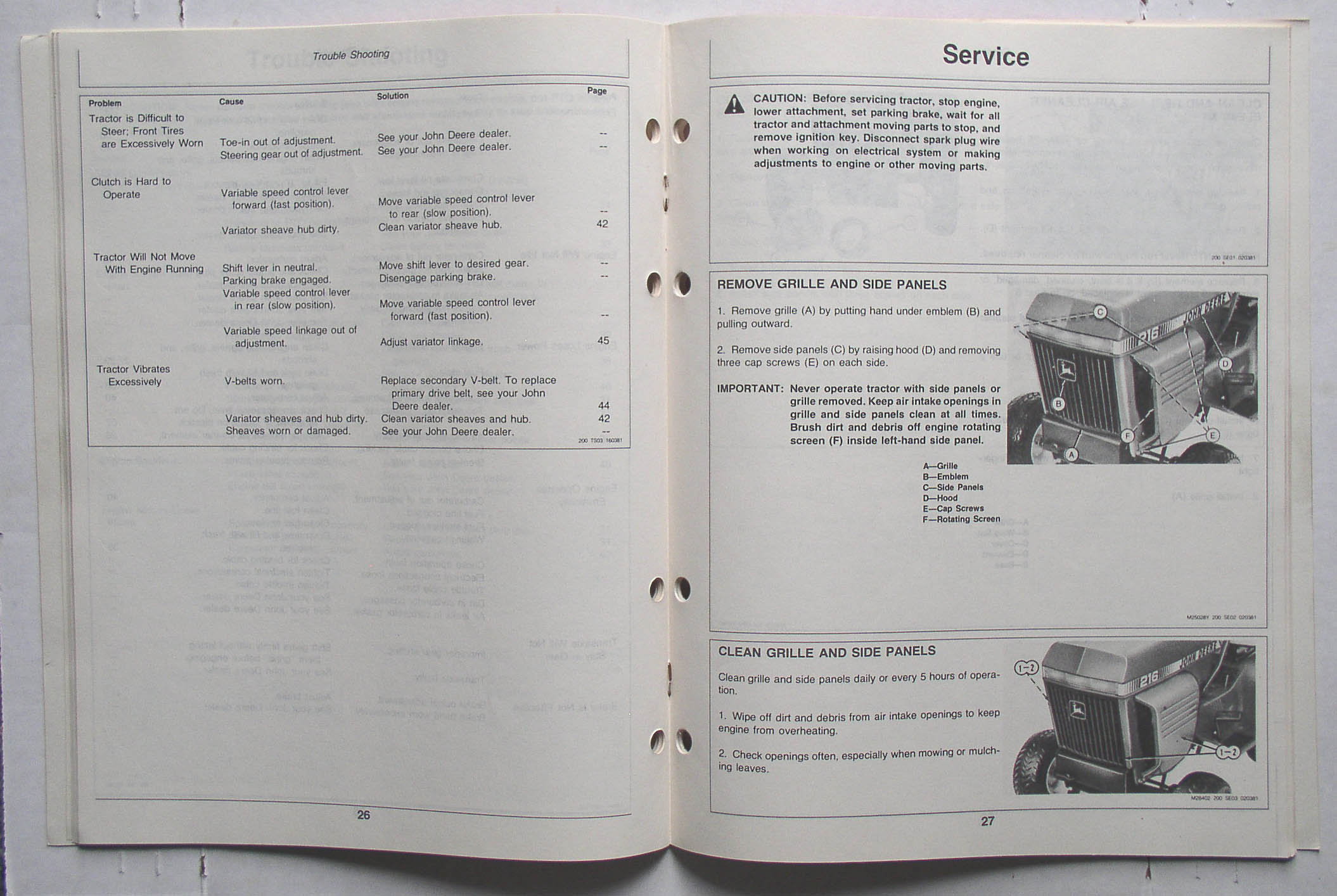 John Deere 210 212 214 216 Lawn Tractors Operator's Manual. Realized ...
