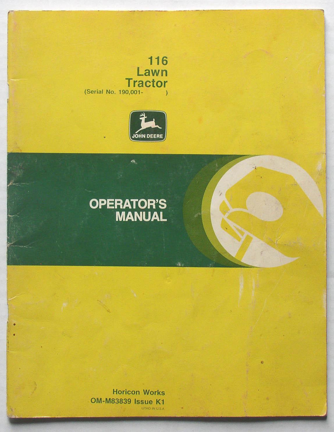 original john deere 116 lawn tractor operator s manual thingery rh  saintstevensthingery com