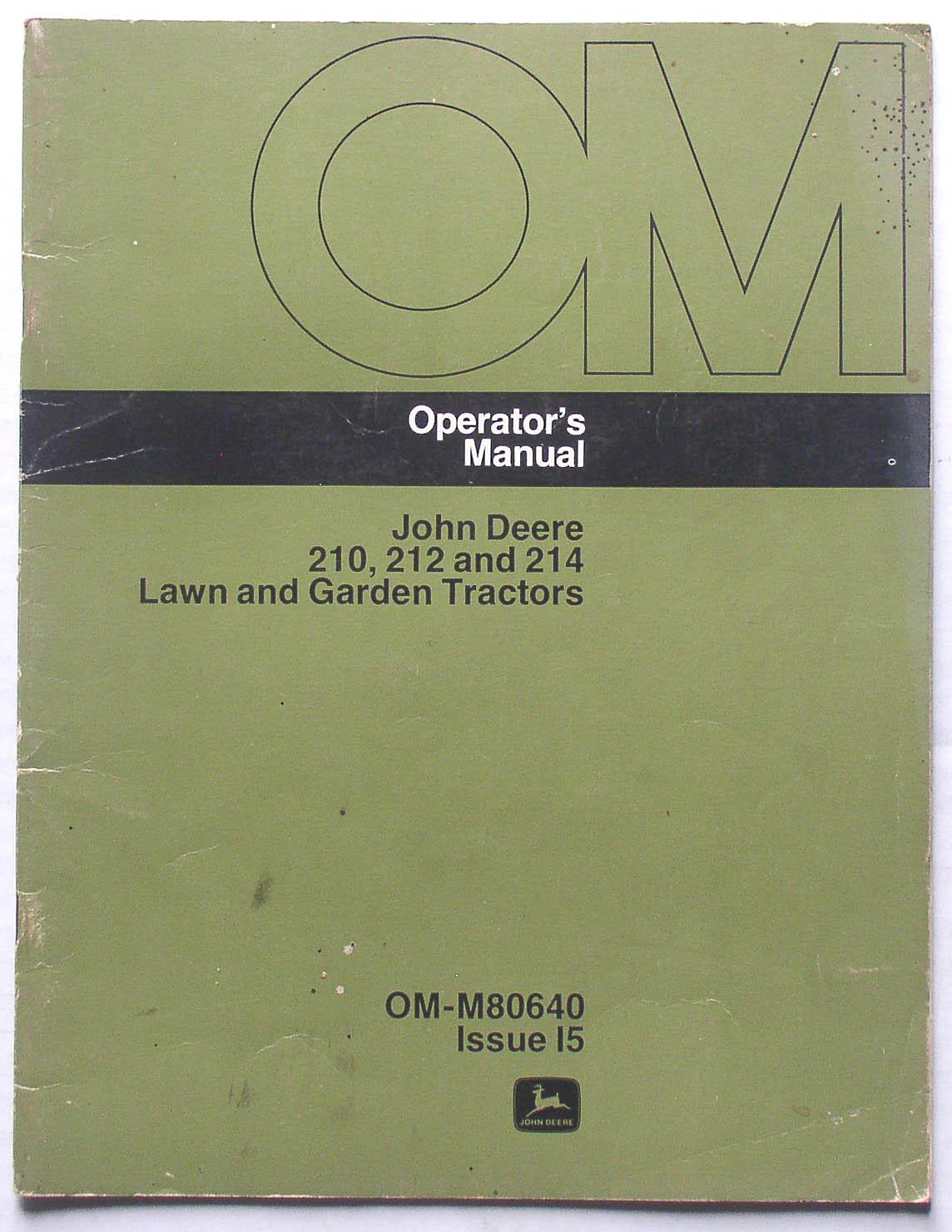 John Deere 210 212 214 Garden Tractors Operators Manual. Realized ...