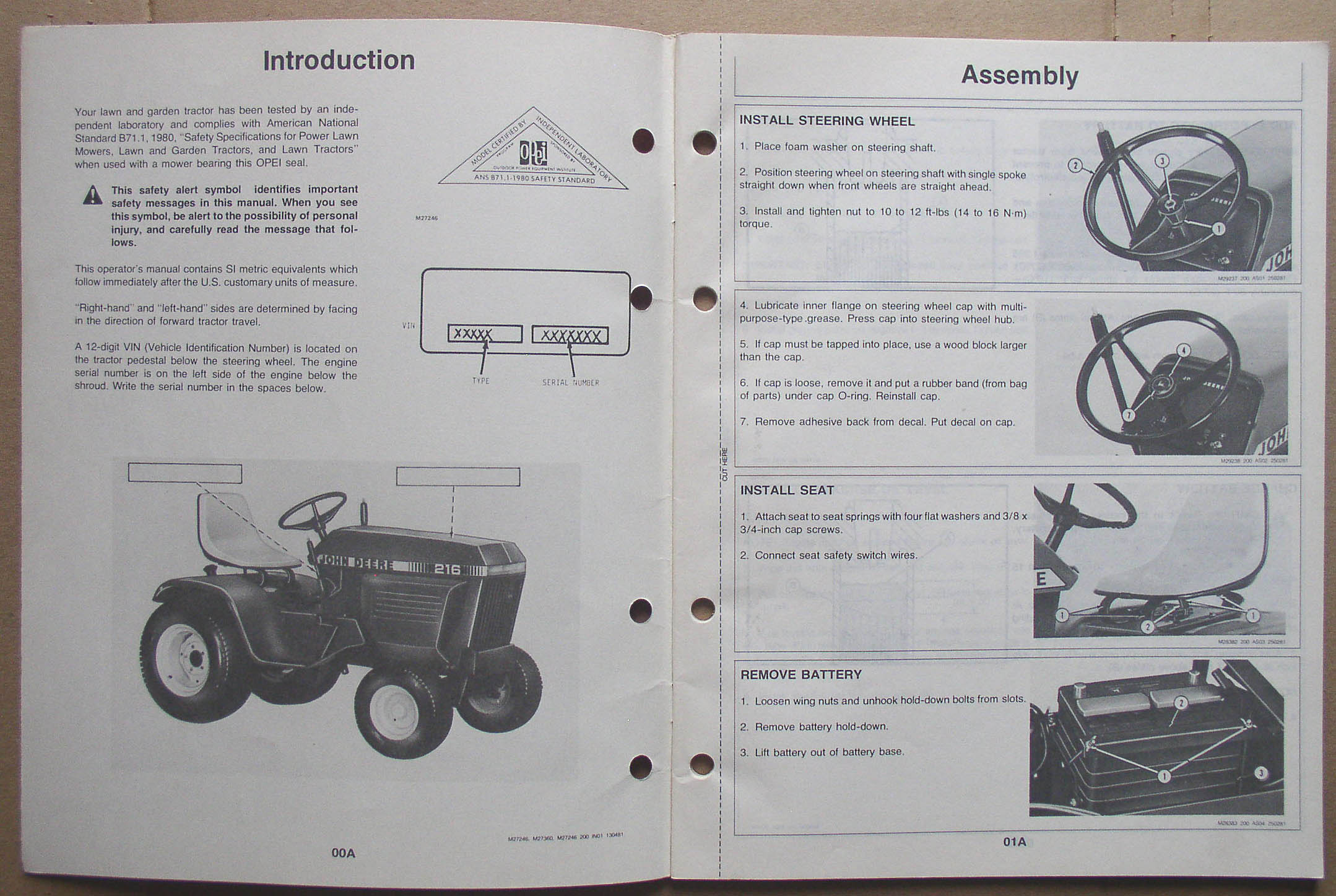 John Deere 210 212 214 216 Garden Tractor Operator's Manual1. Realized ...