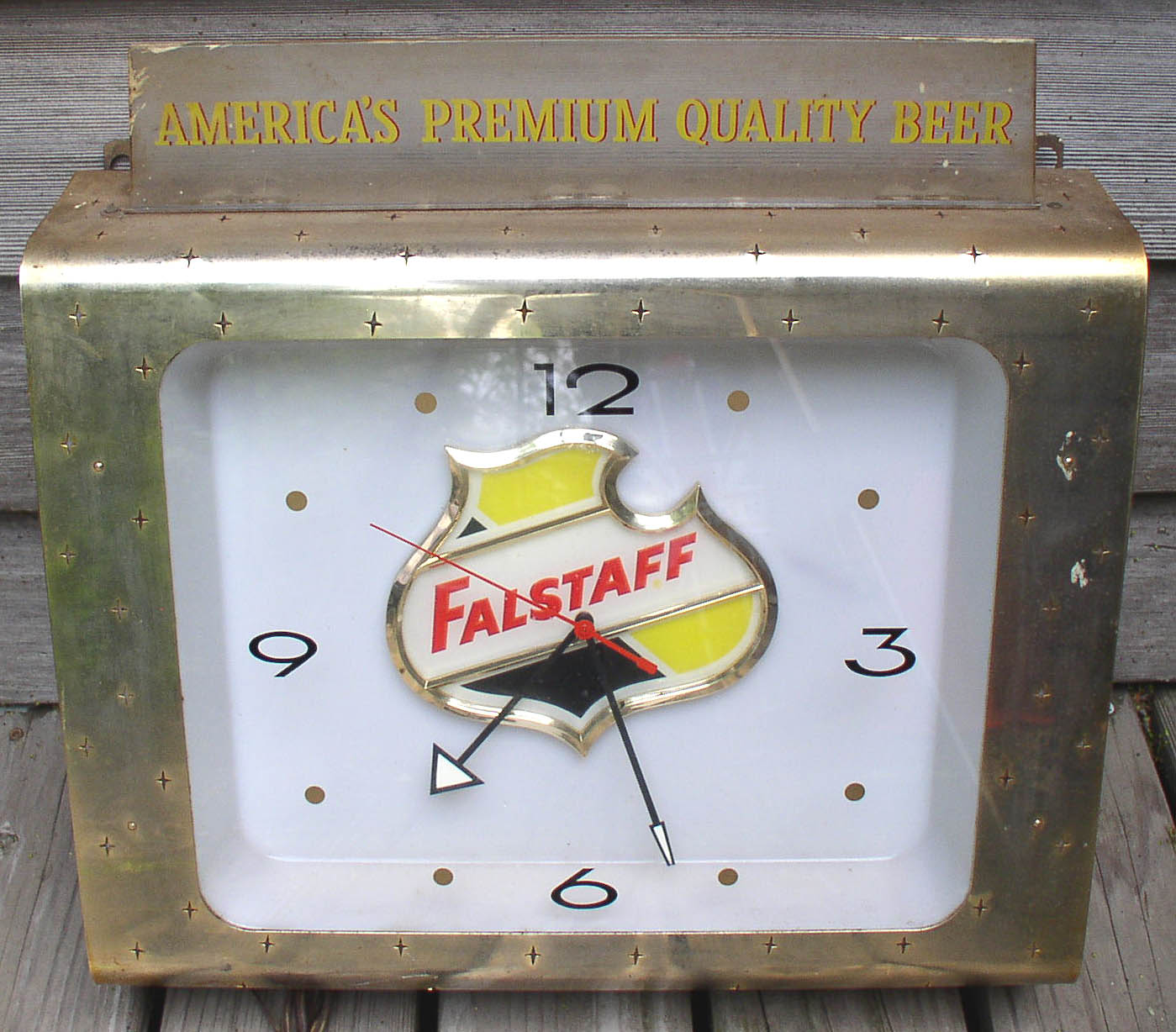 Vintage Metal Lighted Clock Falstaff Beer Works Thingery