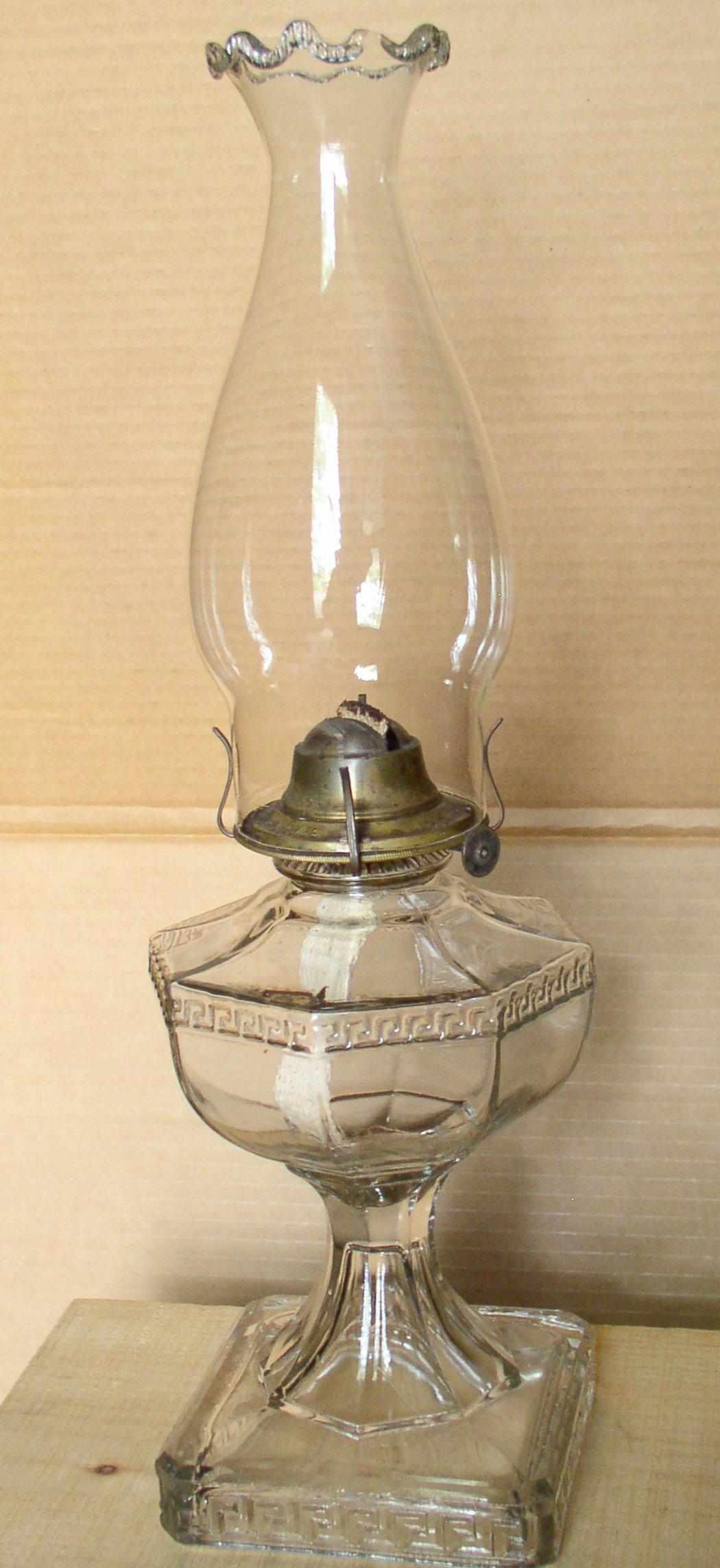 Eapg Greek Key Oil Lamp Early Crimped Chimney Thingery