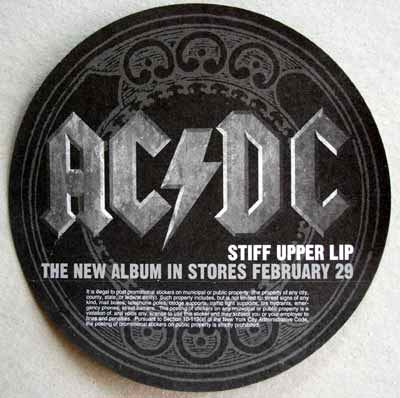 AC/DC / Stiff Upper Lip sticker back