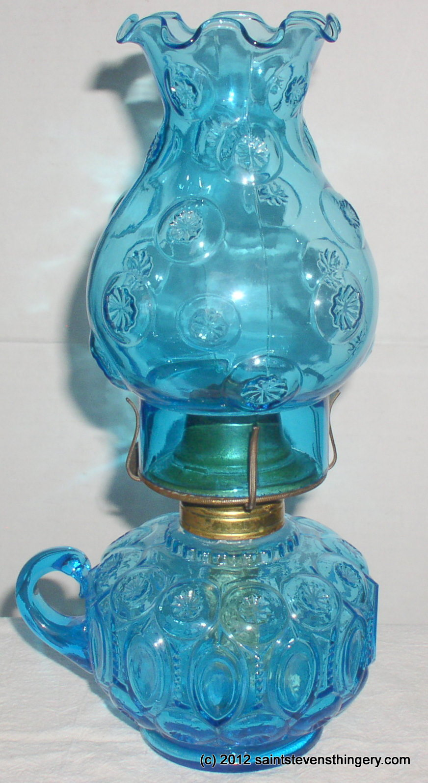 Le Smith Moon And Stars Blue Glass Finger Oil Lamp