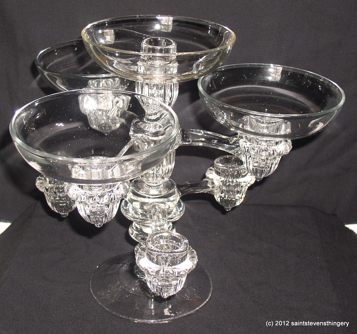Vintage cambridge arms epergne candle holder candelabra