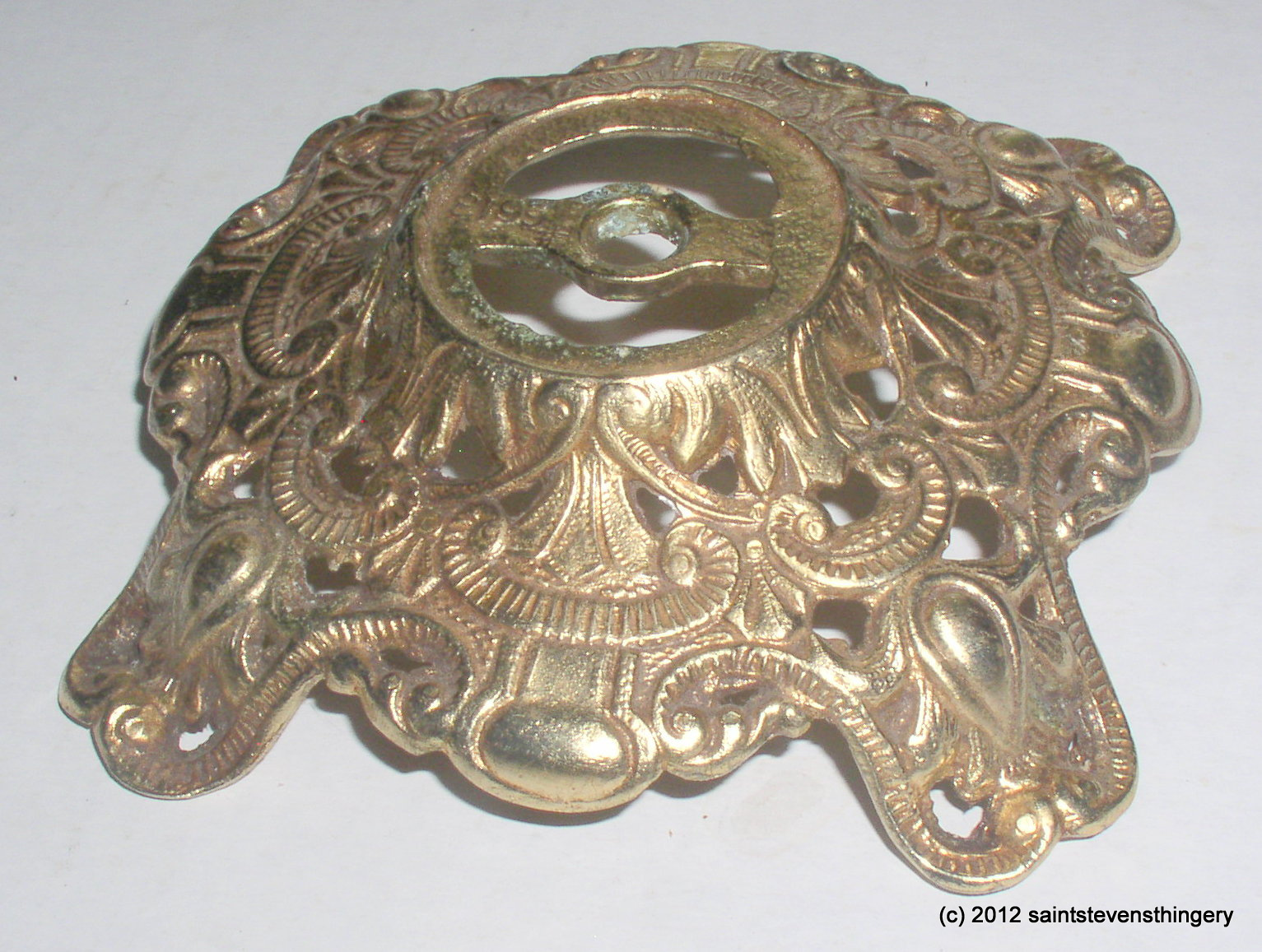 Ornate brass gwtw banquet kerosene oil lamp base parts thingery published by mozeypictures