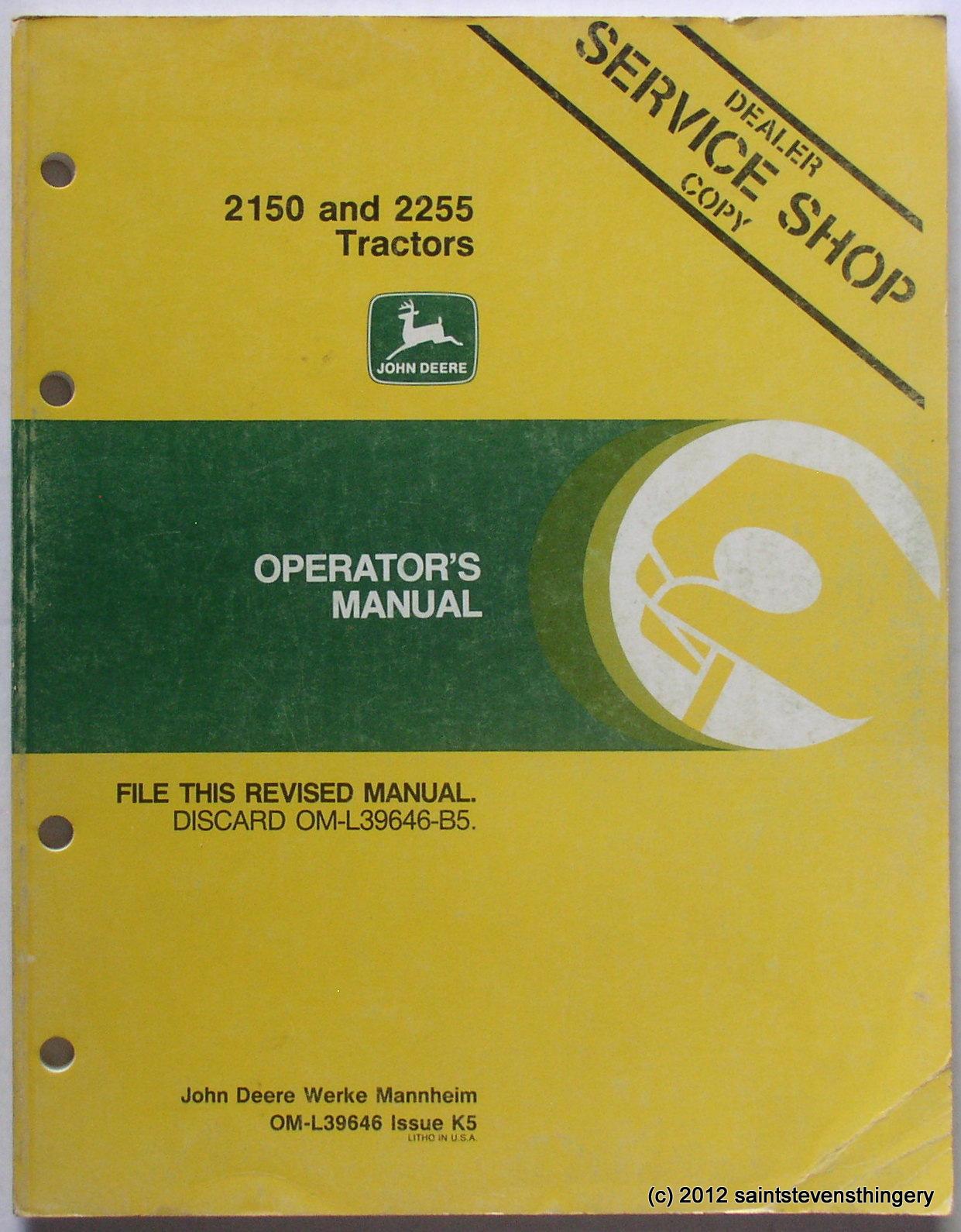 Deere 2150 2255 Operator's Manual ...