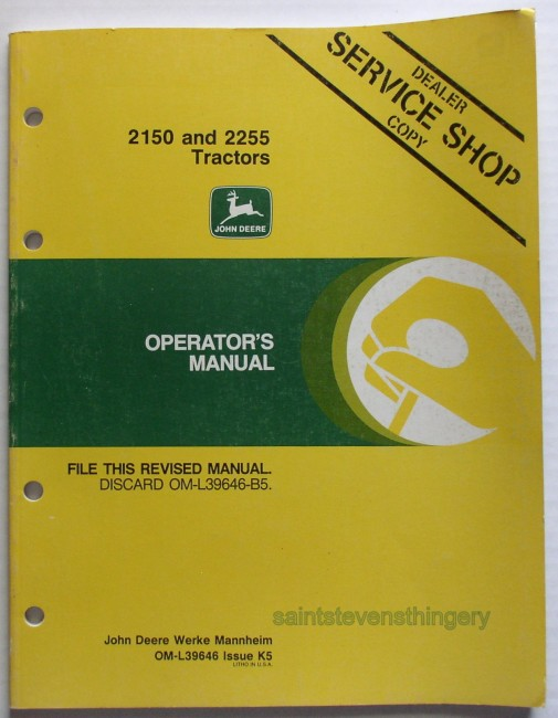 Deere 2150 2255 Operator's Manual Service Shop Copy