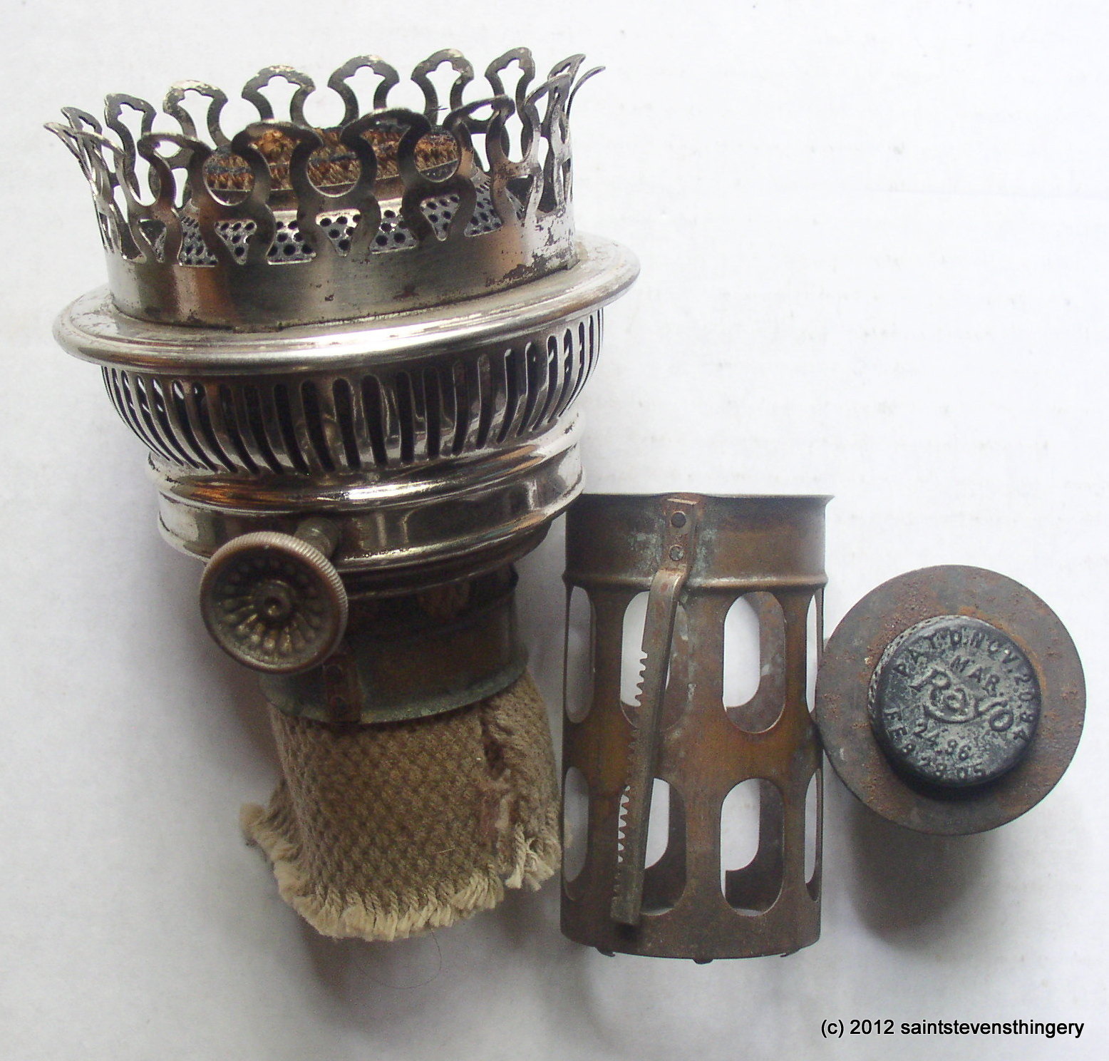 Antique rayo center draft oil lamp burner flame spreader wick published by aloadofball