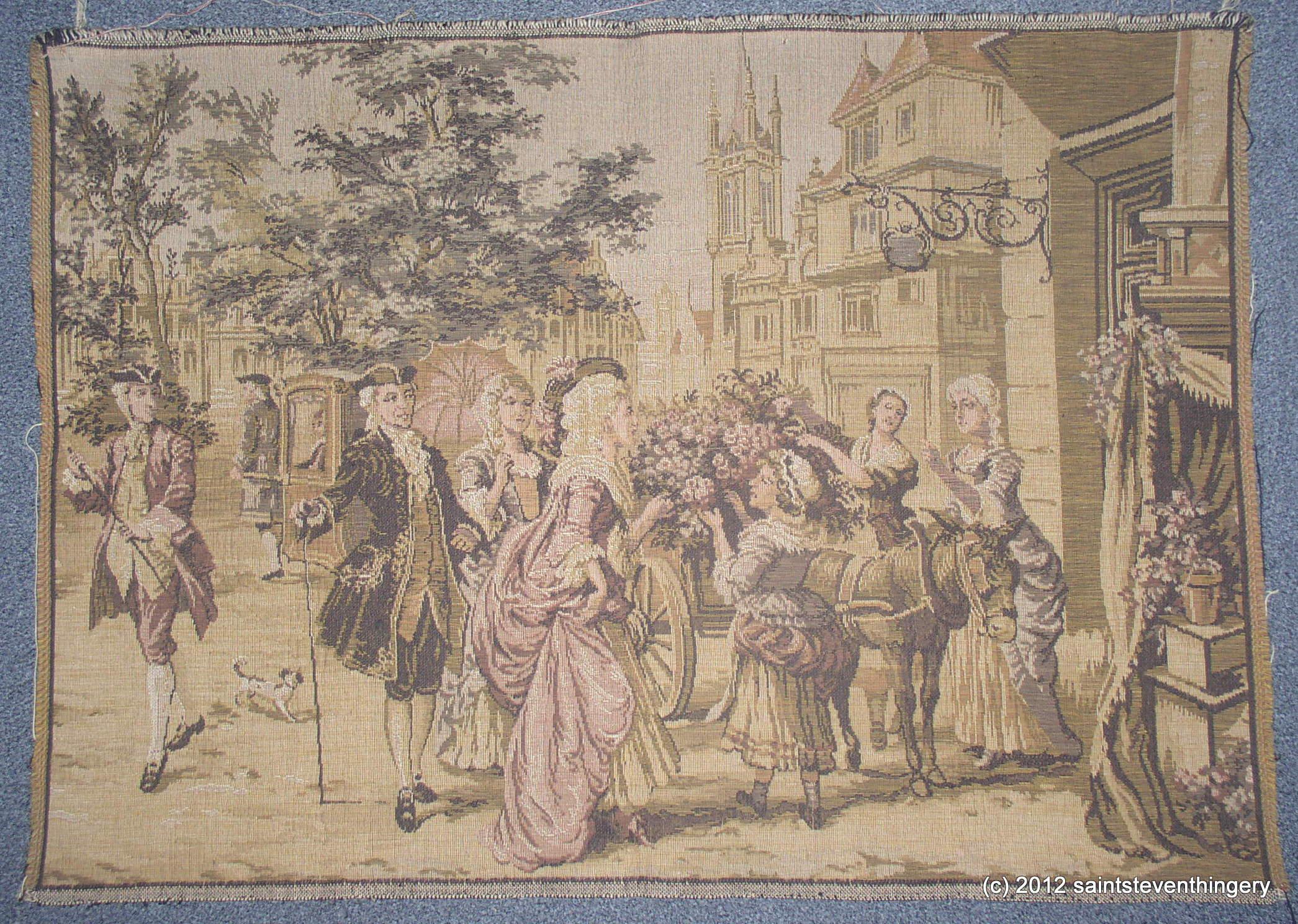 Empire Auto Sales >> Antique Belgium Tapestry Ladies Gentlemen Flower Cart