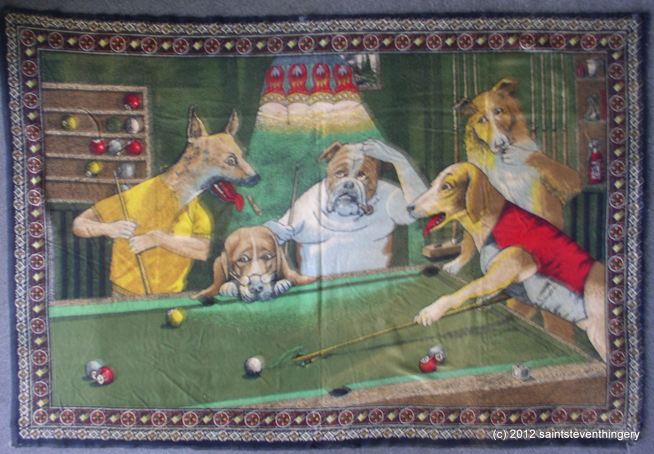 Empire Auto Sales >> Vintage Dogs Playing Pool Tapestry 55″ x 37″ Turkey Cotton – Thingery Previews Postviews & Thoughts
