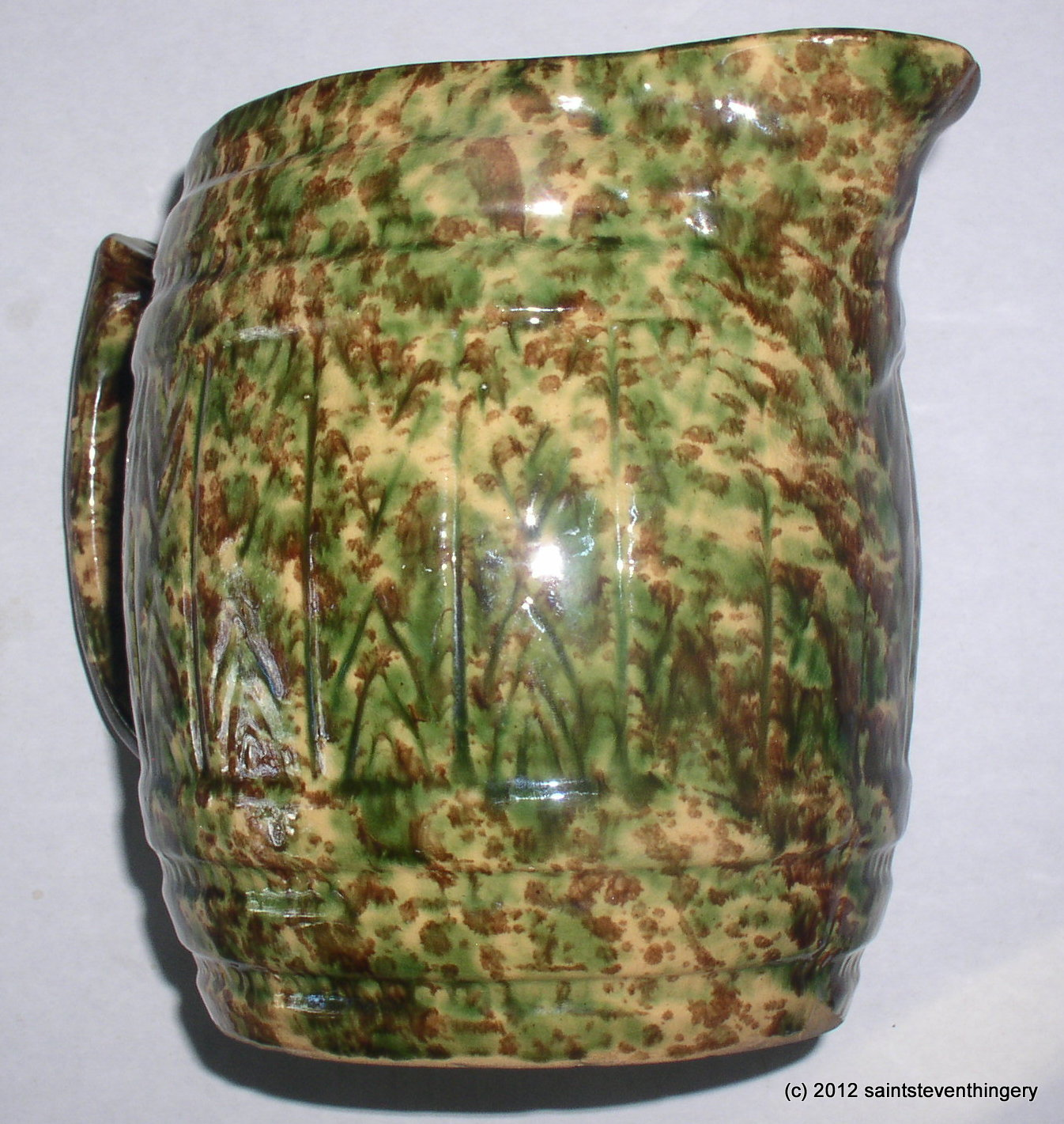 Antique Stoneware Brown Green Yellow Sponge Ware Pitcher 7