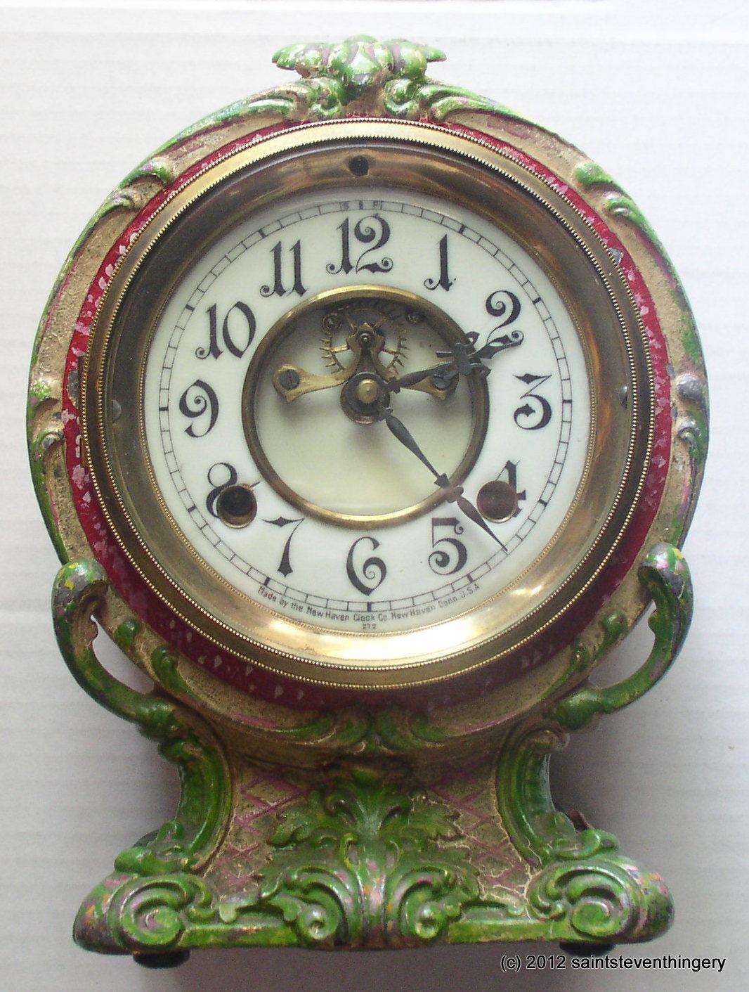 Antique New Haven Open Escapement Porcelain Dial Clock