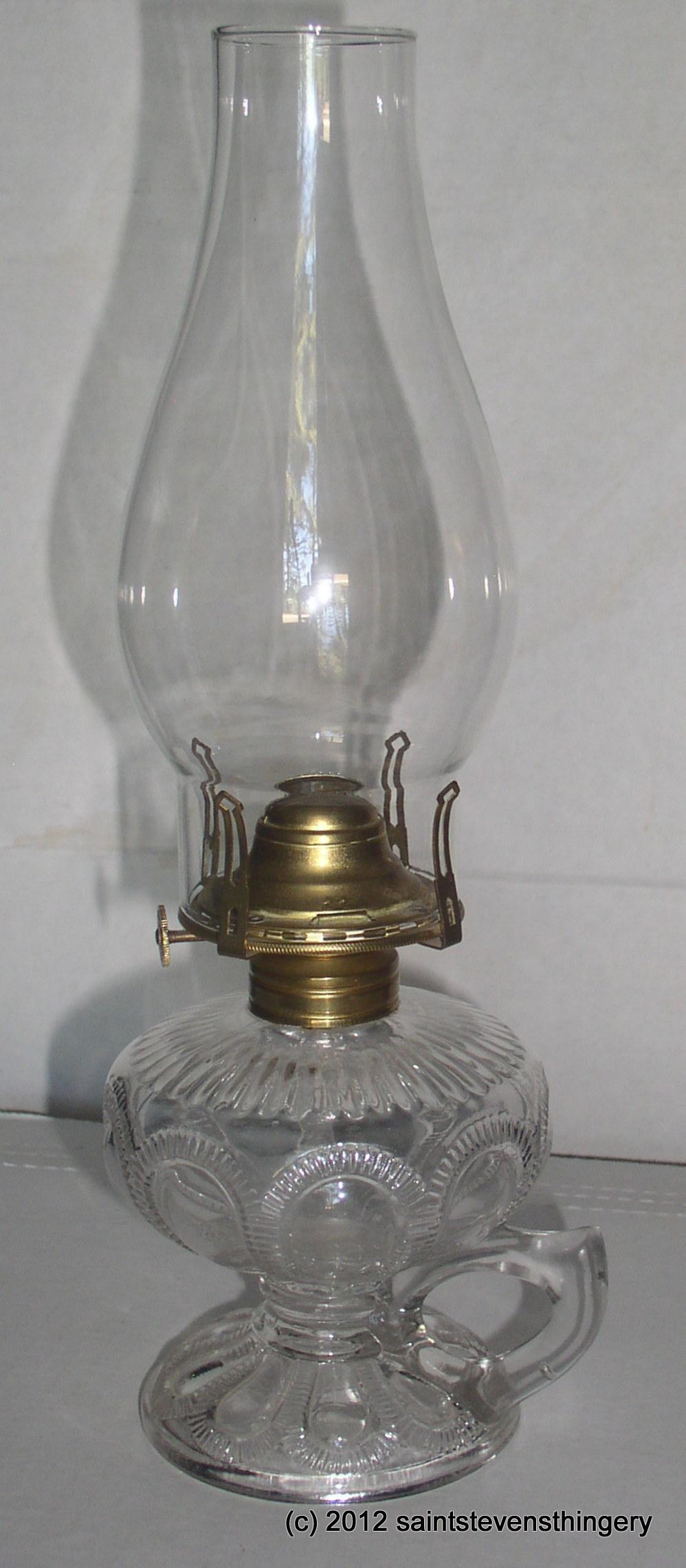 Antique Zipper Loop Pattern Finger Kerosene Oil Lamp And