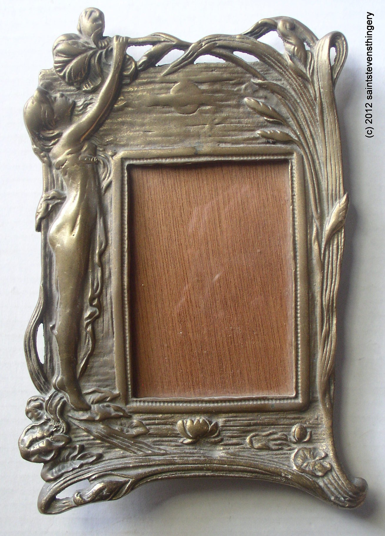 Ornate Art Nouveau Deco Cast Brass Easel Picture Frame