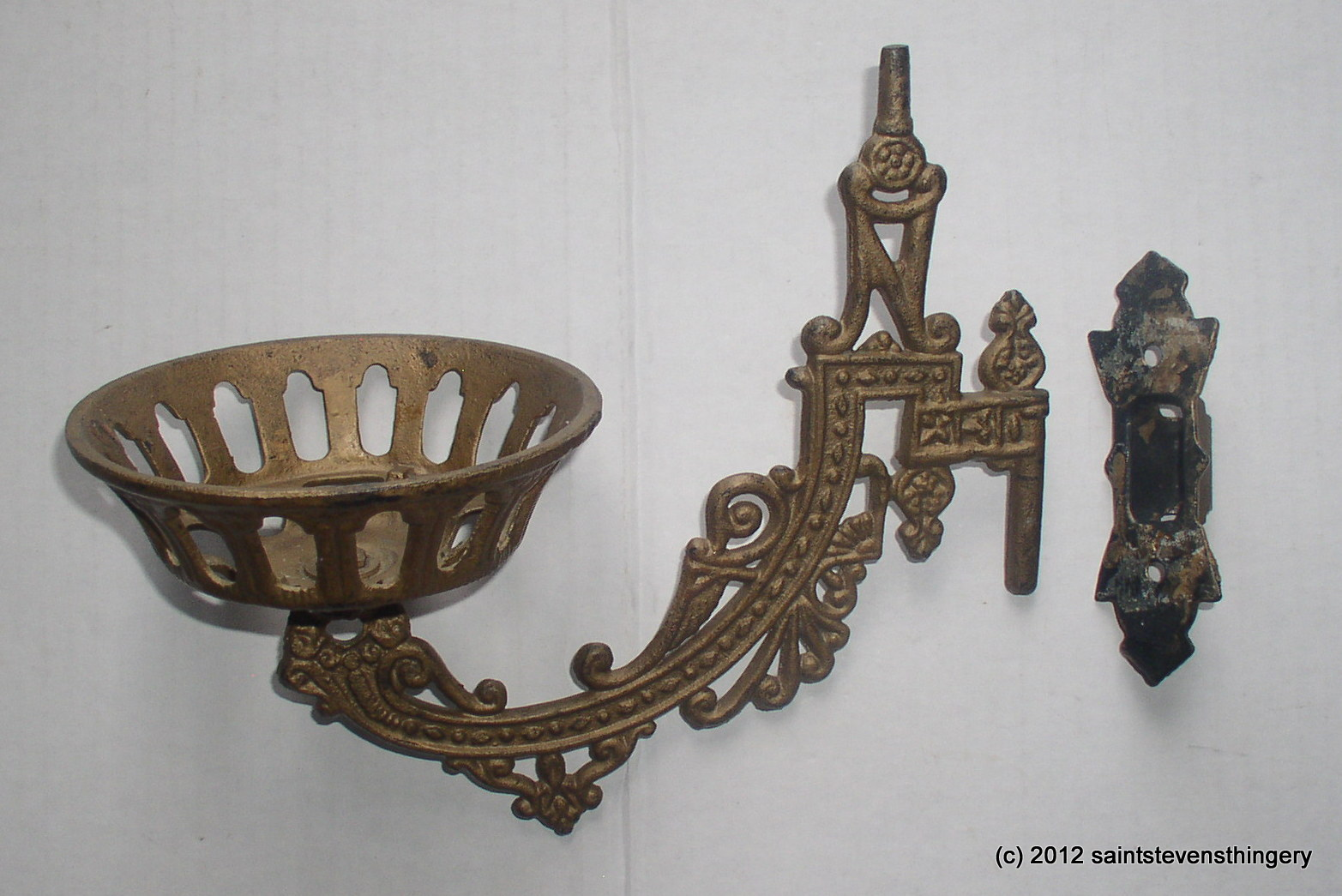 Antique Cast Iron Wall Mount Oil Lamp Bracket, Holder, Flange Thingery Previews Postviews ...