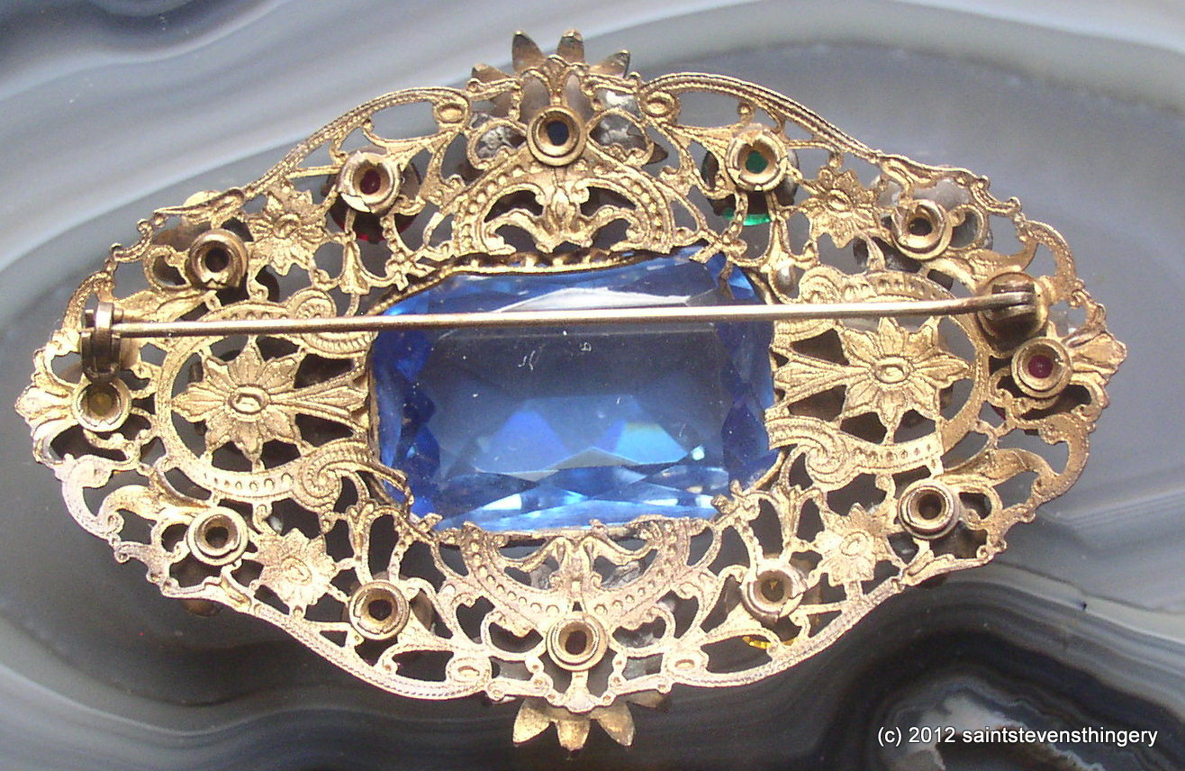 Antique Victorian Large Brass Filigree Faceted Stone