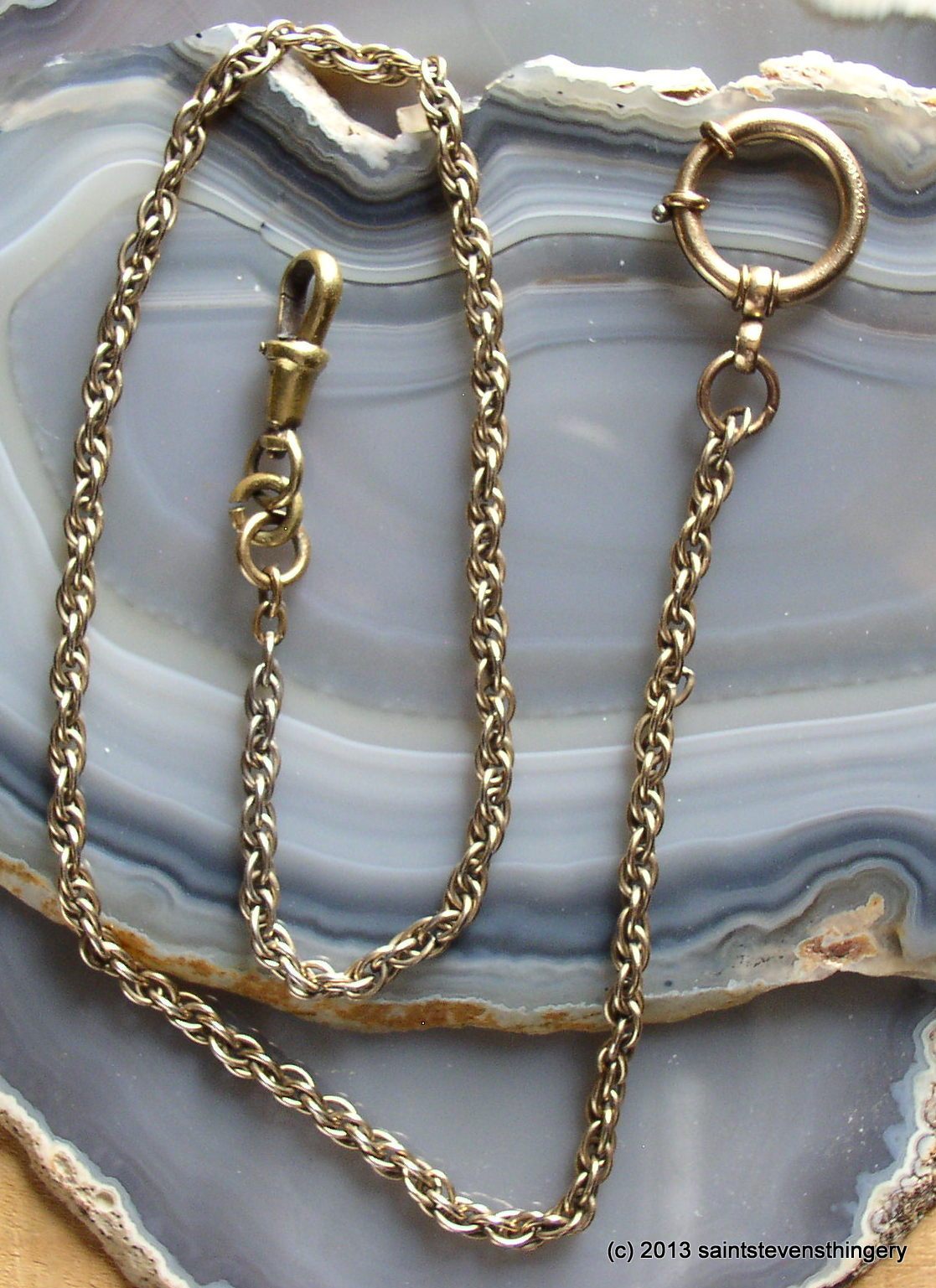 Vintage 12K Gold Filled Gf Pocket Watch Fob Chain 18 Long  Thingery Previews -4154