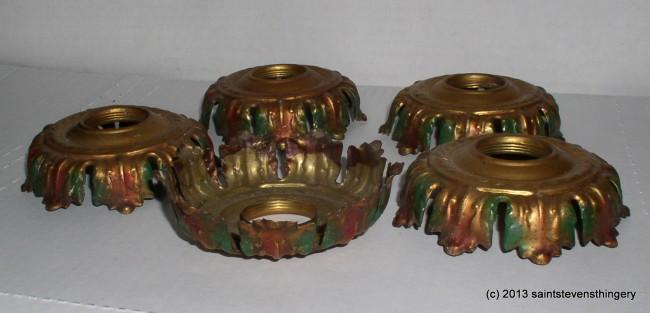 5 Antique Stamped Brass Leaf Light Socket Cover Chandelier
