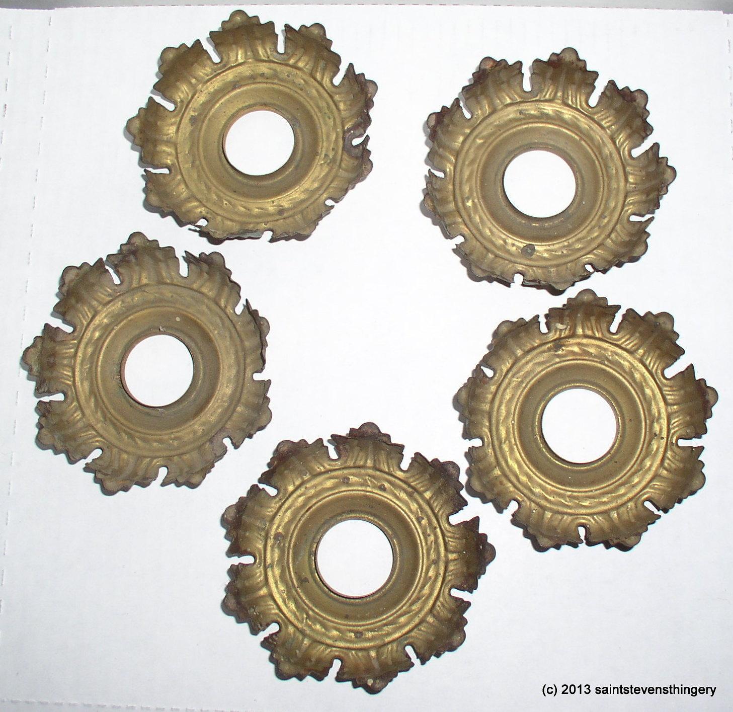 5 antique stamped brass leaf light socket cover chandelier bobeche light socket covers 5 aloadofball Images
