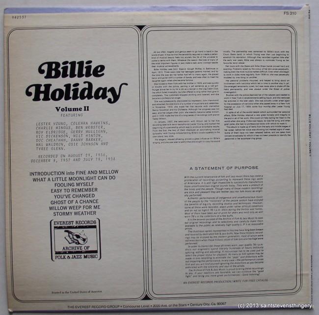Billie Holiday Volume II cover back