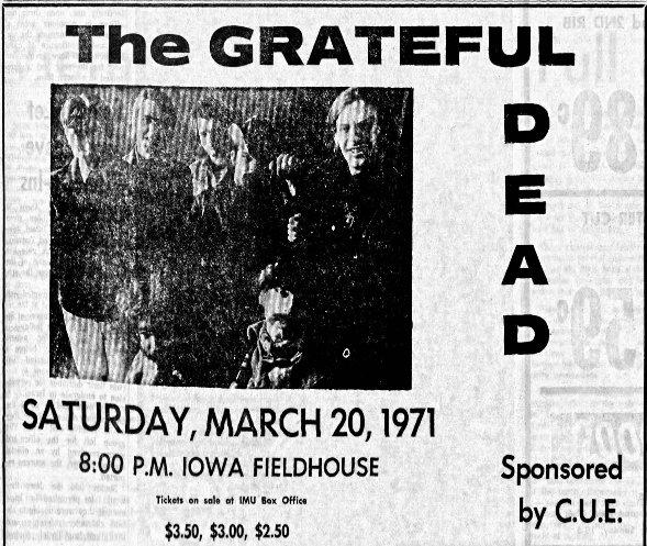 Daily Iowa Ad 1971 Grateful Dead