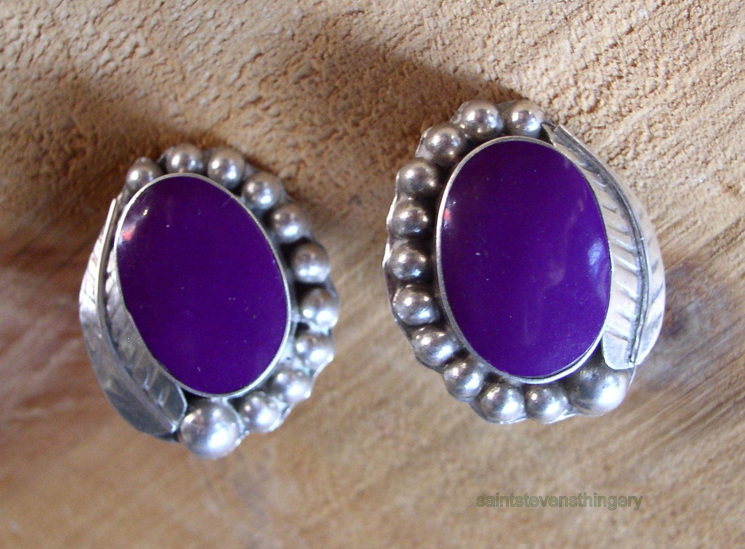 Empire Auto Sales >> Mexico .925 Sterling Silver Clip Earrings w/ Purple Stone ...