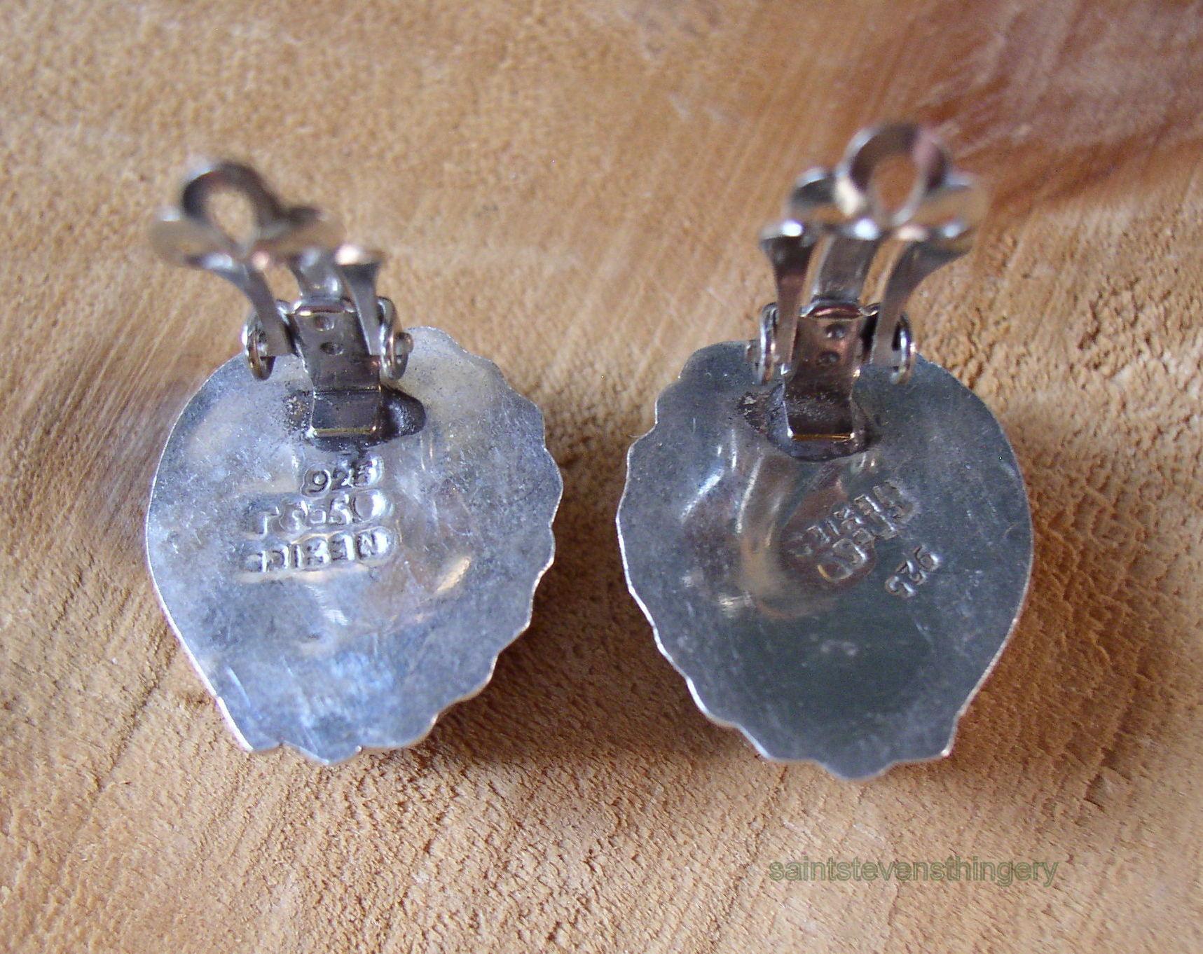 Mexico 925 Sterling Silver Clip Earrings W Purple Stone