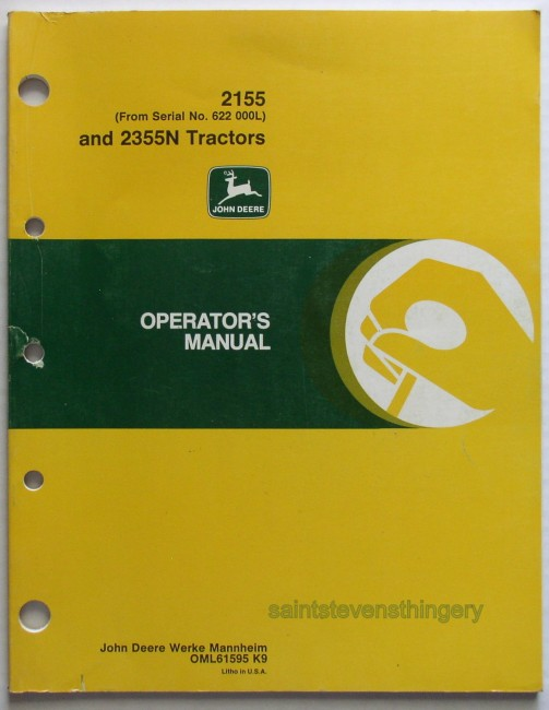 Deere 2155 (serial 622 000L) 2355N Operator's Manual