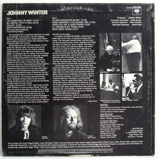 Johnny Winter / Johnny Winter LP 2