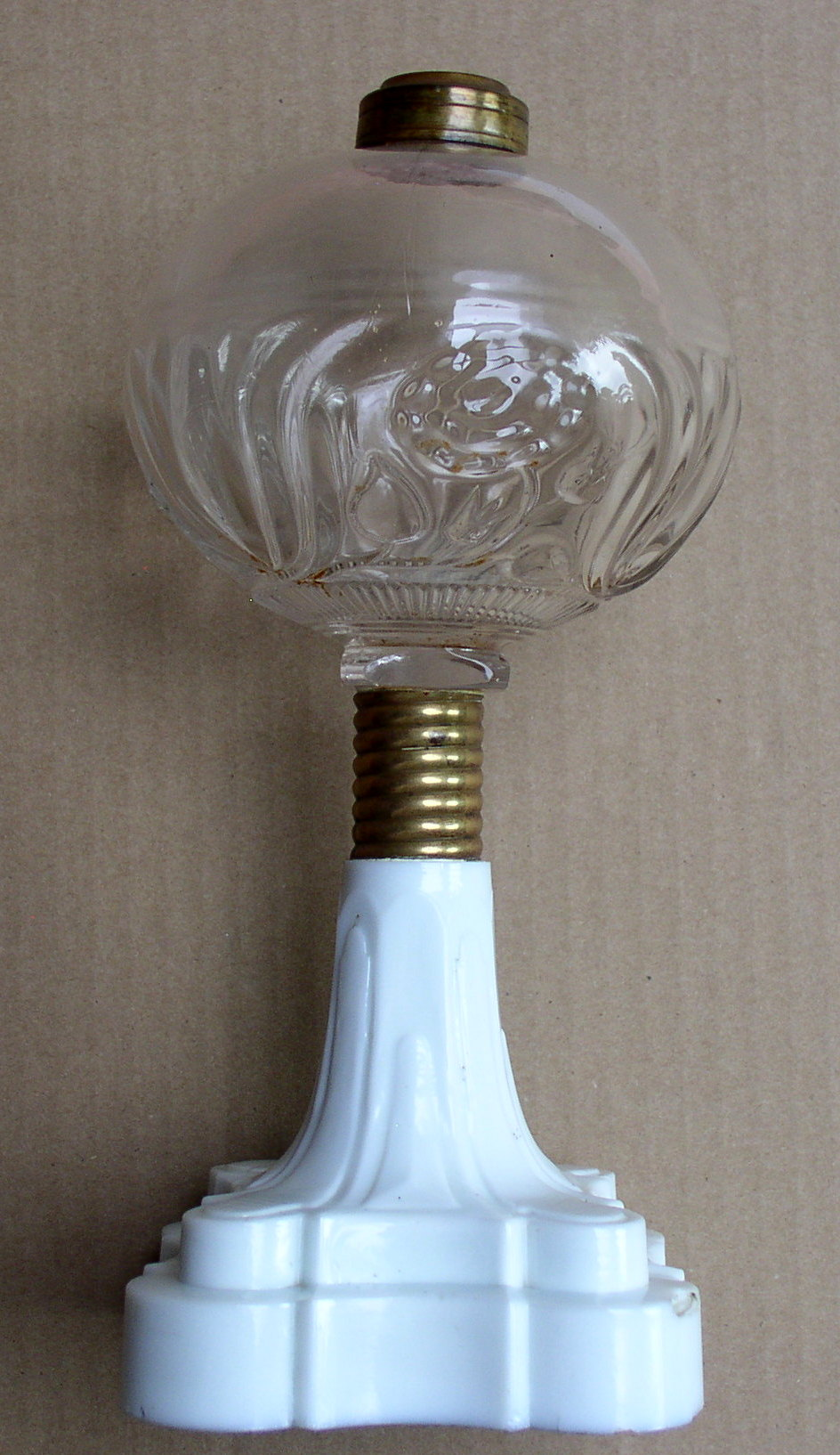 Antique Lotus Pattern Kerosene Oil Lamp Atterbury Screw