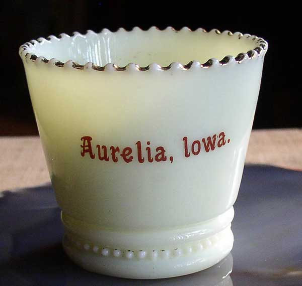 Aurelia Iowa Custard Glass Souvenir Toothpick