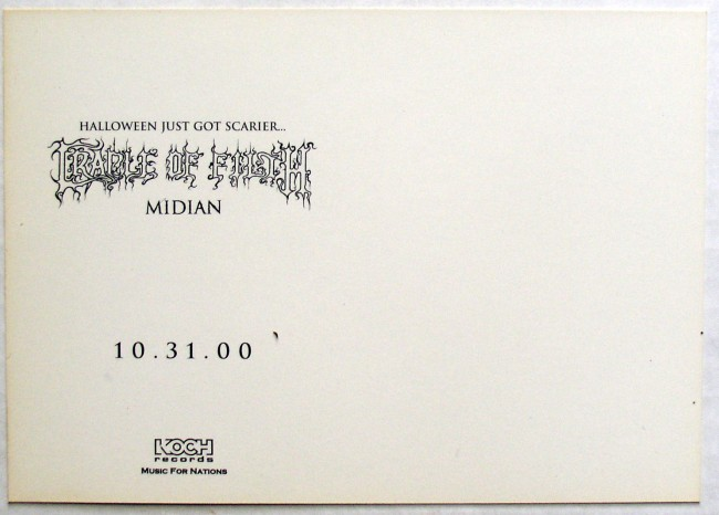 Cradle Of Filth / Midian promo postcard back
