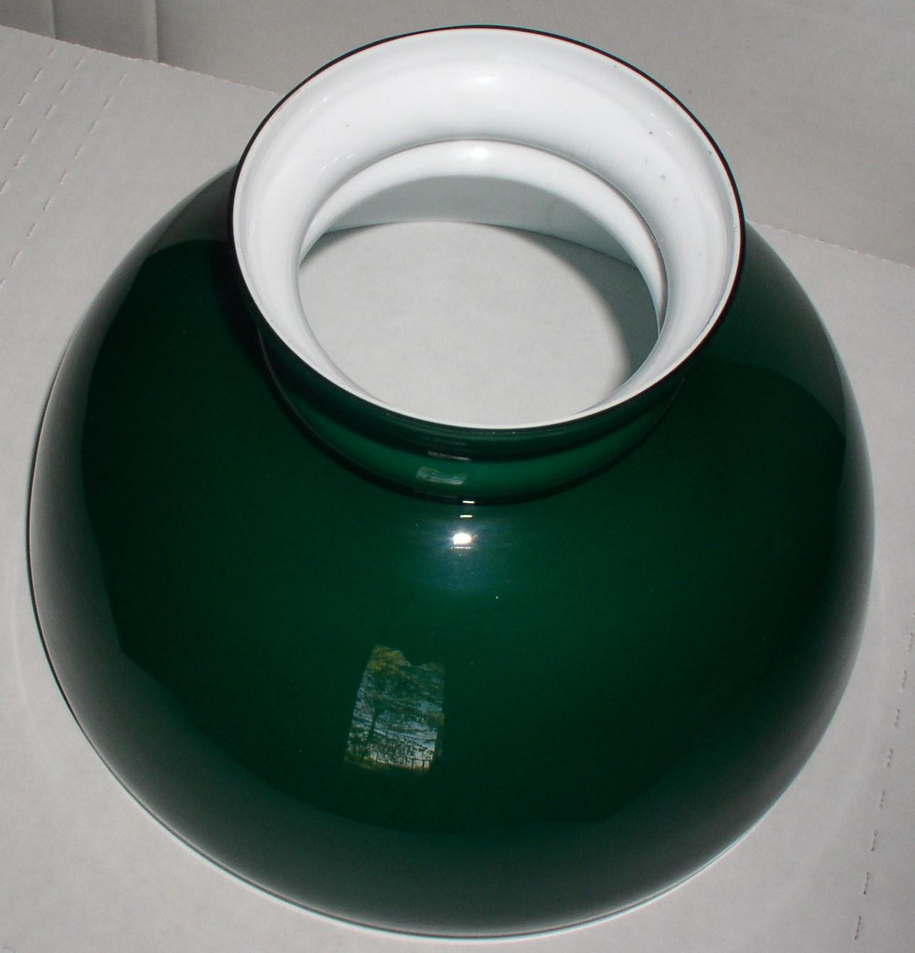Vintage Green Cased Glass 10 Oil Lamp Shade Aladdin B Amp H