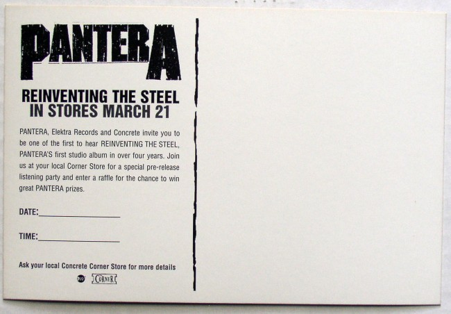 Pantera / Reinventing The Steel promo postcard back
