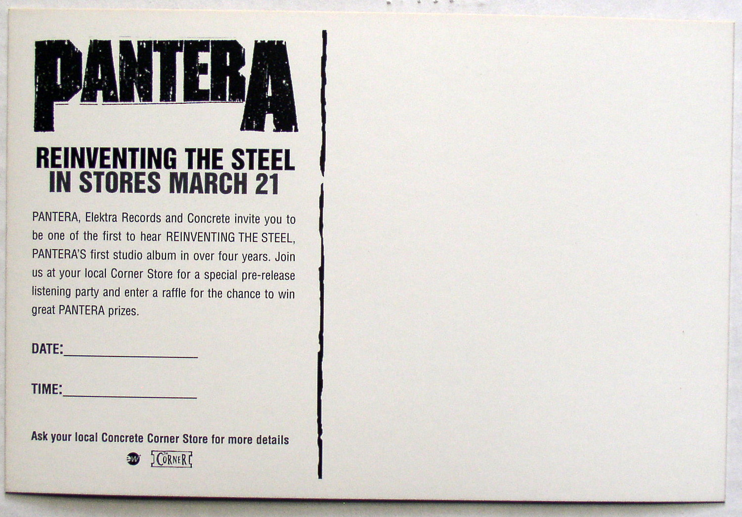 pantera reinventing the steel promo postcard 2000 thingery