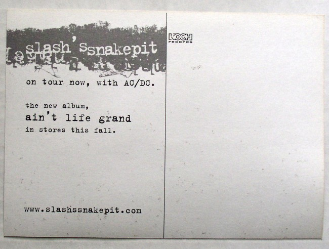 Slash's Snakepit / Ain't Life Grand promo postcard back