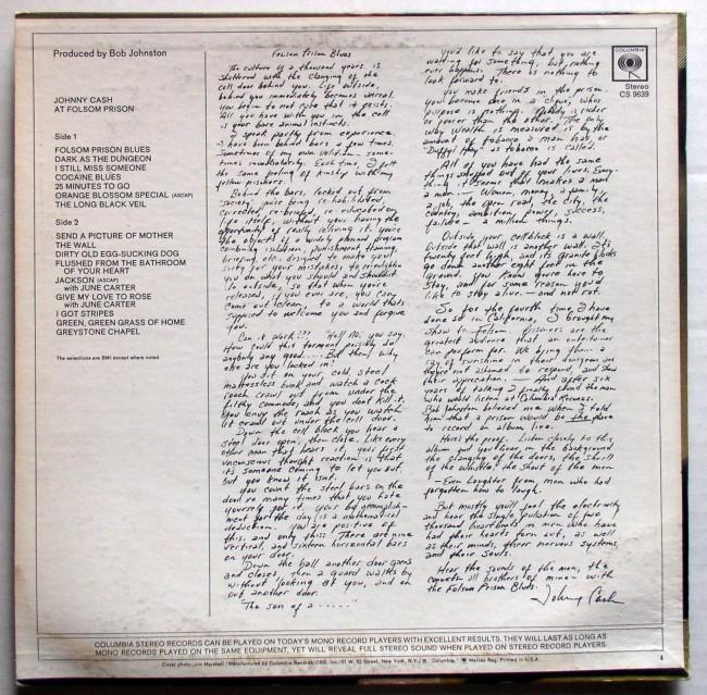 Johnny Cash / At Folsom Prison LP 1968 2