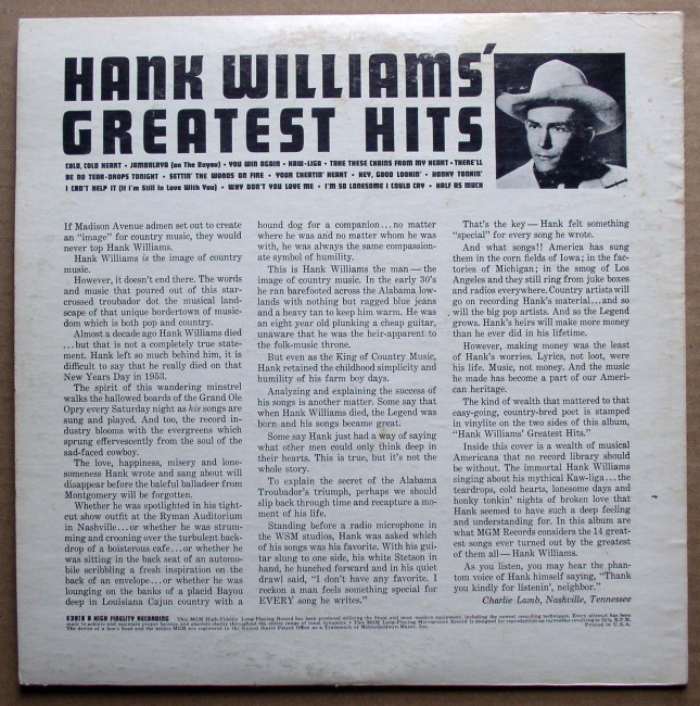 Hank Williams Greatest Hits LP 2
