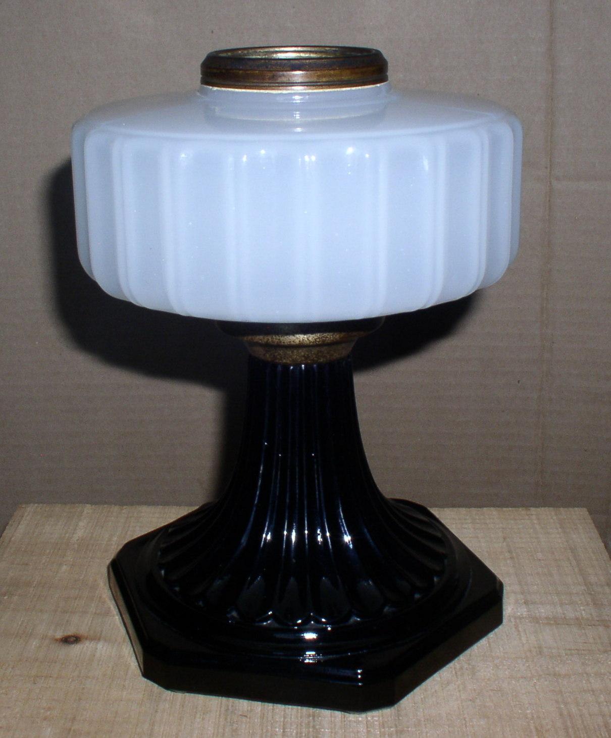 1936 Aladdin Corinthian Kerosene Oil Lamp White Font Black