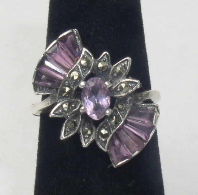 Amethyst Marcasite Ring 1